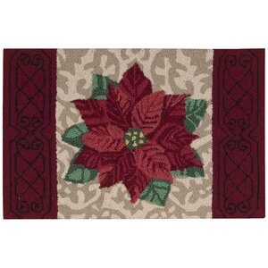 Christmas Hand Hooked Beige/Red Area Rug