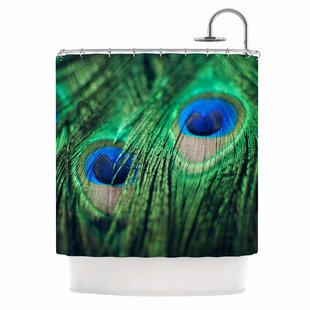 Peacock Feathers Single Shower Curtain by East Urban Home Today Sale Only