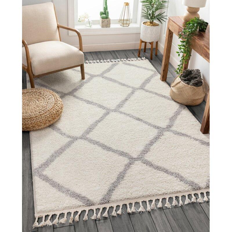 Well Woven Cabana Geometric White Gray Area Rug Reviews Wayfair