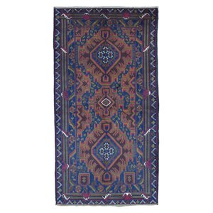 Adelphi Persian Antique Baluch Oriental Hand Woven Wool Blue Area Rug