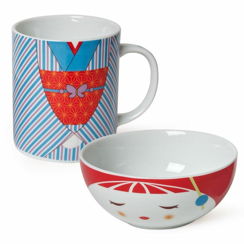 Jewel Japan Kimono Bowl And Mug Set. By Miya Company