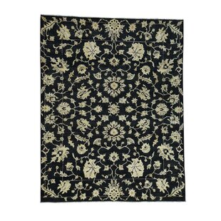 Affordable One-of-a-Kind Pleasant Avenue Peshawar Oriental Hand-Knotted Black Area Rug By World Menagerie