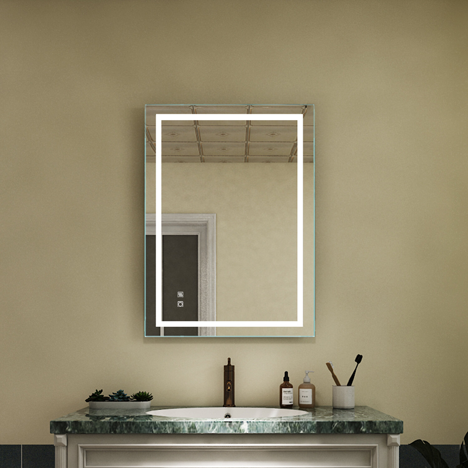 Hilario Modern Frameless Lighted Bathroom Mirror