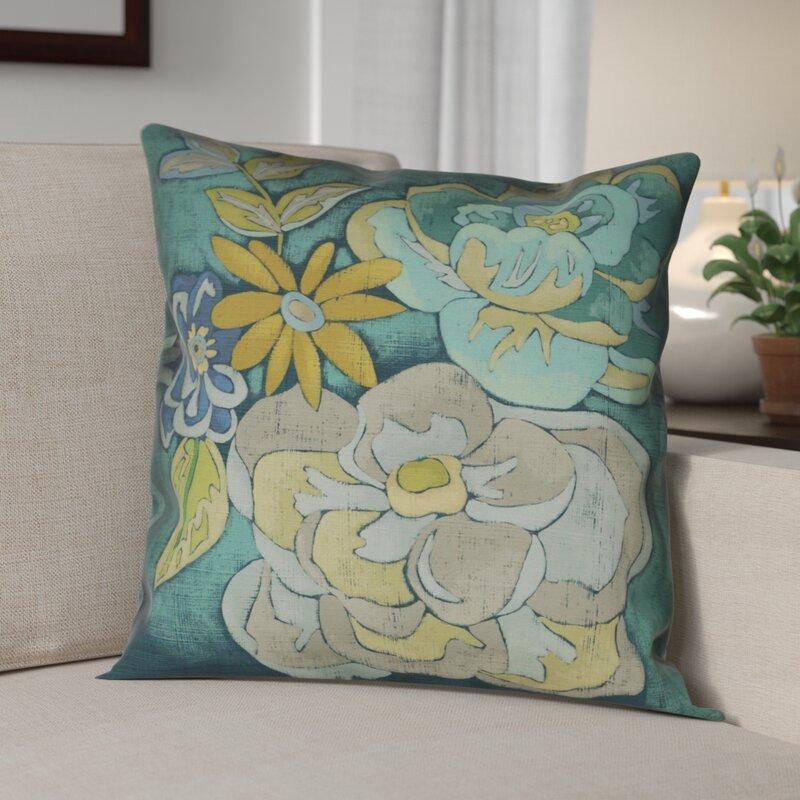 Red Barrel Studio Steve Teal Bouquet Indoor Outdoor Throw Pillow Wayfair