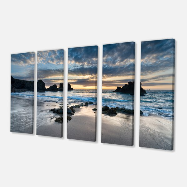 Designart Beautiful Porthcothan Bay 5 Piece Photographic Print On Wrapped Canvas Set Reviews Wayfair