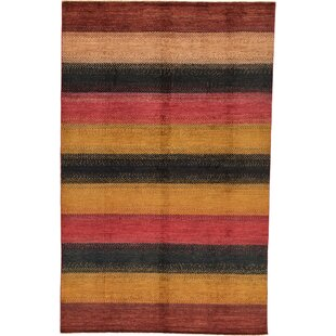 Affordable Price One-of-a-Kind Nash Hand-Knotted 6' x 9'4 Wool Yellow/Black/Red Area Rug By Isabelline