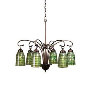 Meyda Tiffany Victorian Tiffany Terra Verde 6-Light Shaded Chandelier