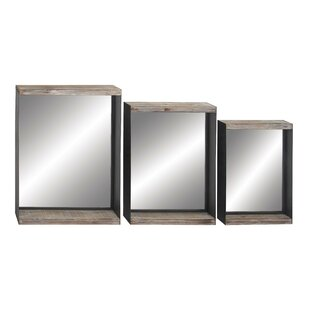17 Stories Khang Rustic Rectangular Patterned Accent Mirror