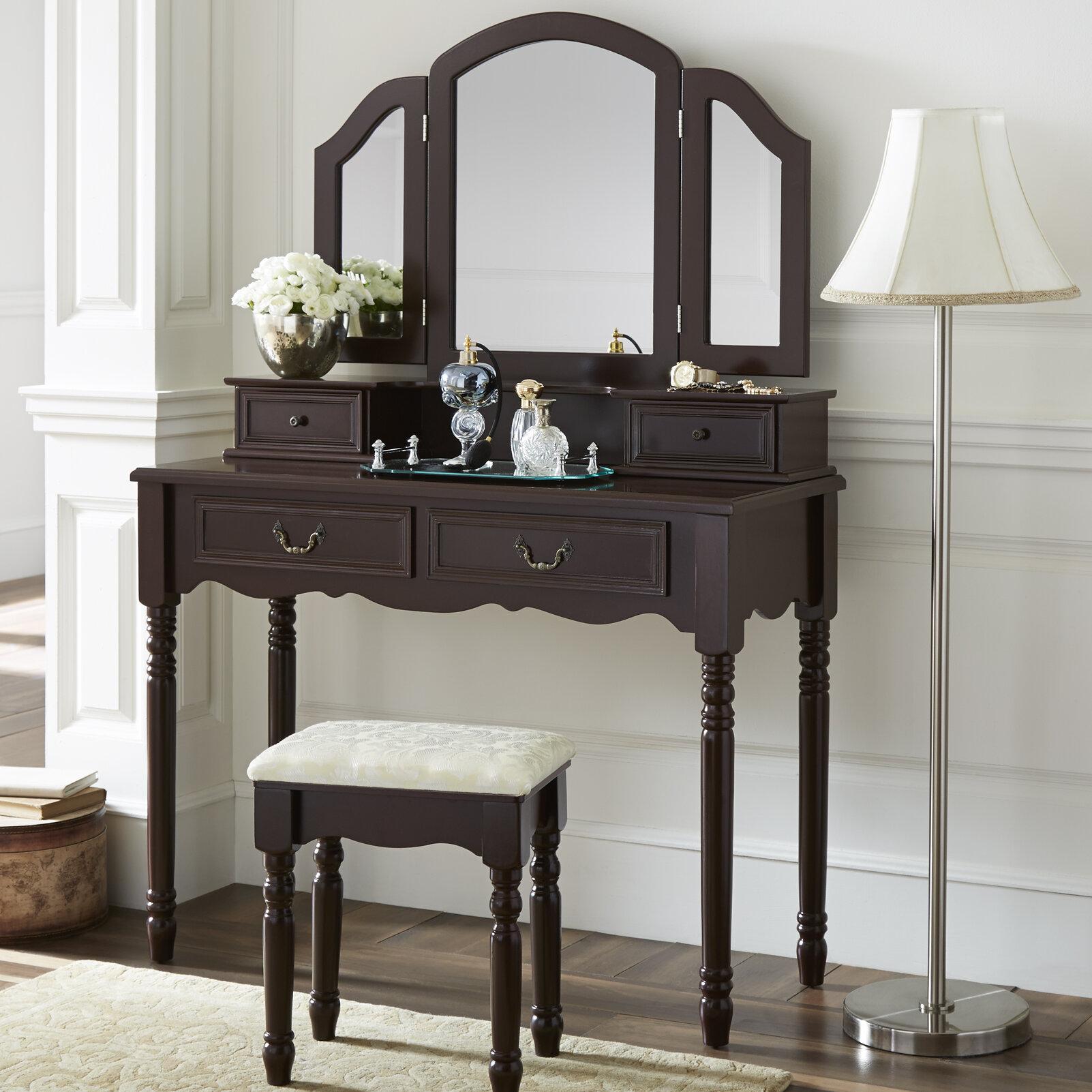 Darby Home Co Felda Elegant Dressing Vanity Set With Mirror U0026 Reviews |  Wayfair
