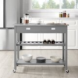 Chloe Kitchen Island with Stainless Steel Top by Ebern Designs