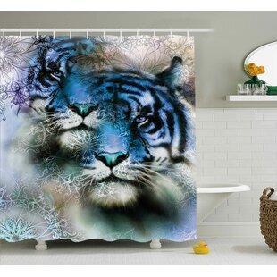 Naestved Animal Two Tiger Safari Cat African Wild Furious Life Big Animals Art Print Single Shower Curtain