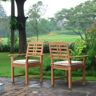 Calila Teak Patio Dining Chair with Cushion (Set of 2)