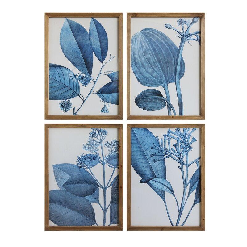 'Blue Botanical' 4 Piece Framed Painting Print Set