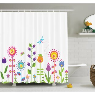 Gretna Cute Floral Cartoon Art Shower Curtain Set