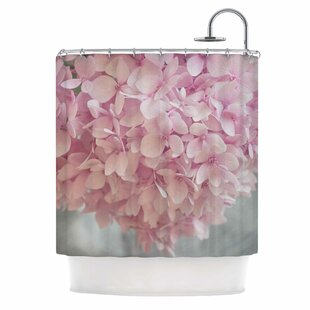 'Pastel Pink Hydrangea Flowers' Single Shower Curtain