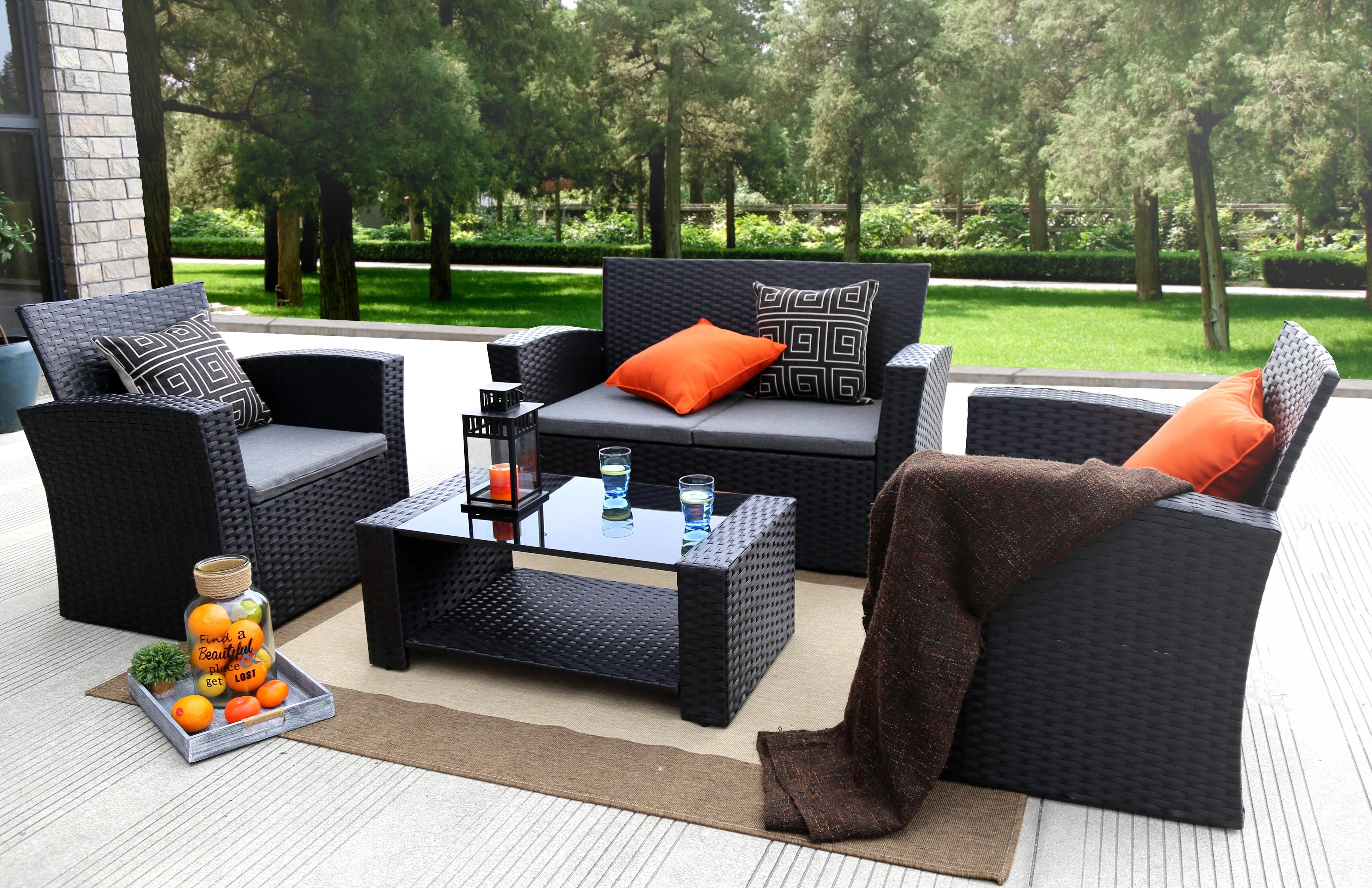 Bay Isle Home Reordan 4 Piece Rattan Sofa Seating Group With Cushions Reviews Wayfair