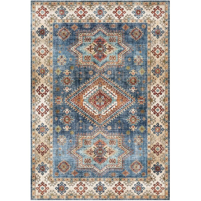 World Menagerie Cypress Blue Area Rug Wayfair Ca