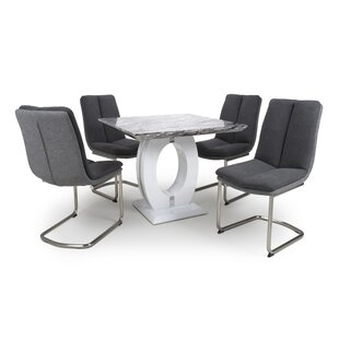 Auclair Dining Set With 4 Chairs By Wade Logan