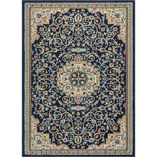 Persa Well Woven Isfahan Traditional Medallion Black/Beige Area Rug ByWell Woven