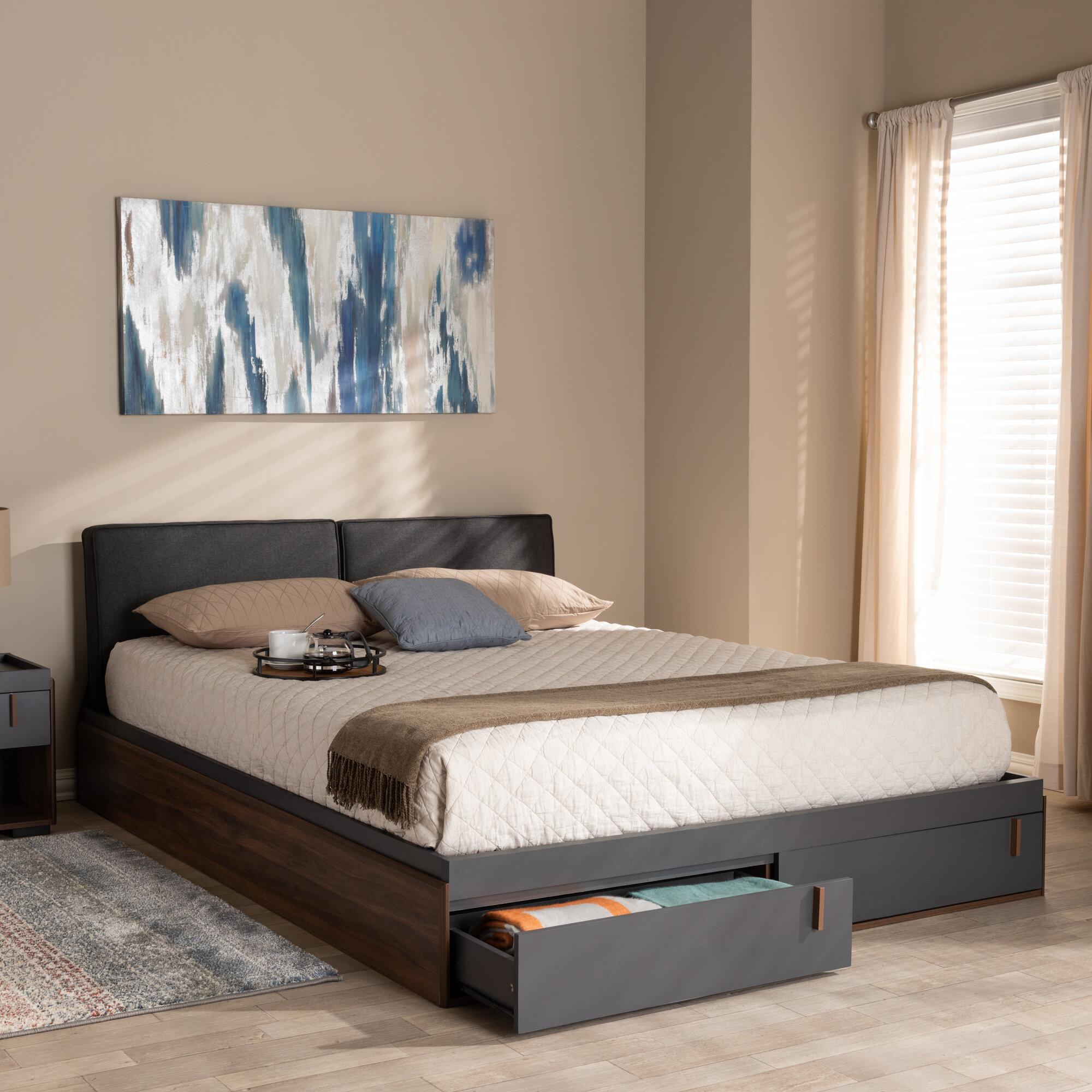 Image of: Wrought Studio Aspatria Queen Upholstered Storage Platform Bed Reviews Wayfair