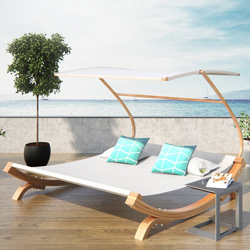 Latitude Run Rhett Friendship Harbor Double Chaise Lounge With - Double chaise lounge outdoor furniture