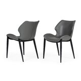 Capucine Upholstered Wingback Side Chair in Gray (Set of 2) by Ivy Bronx