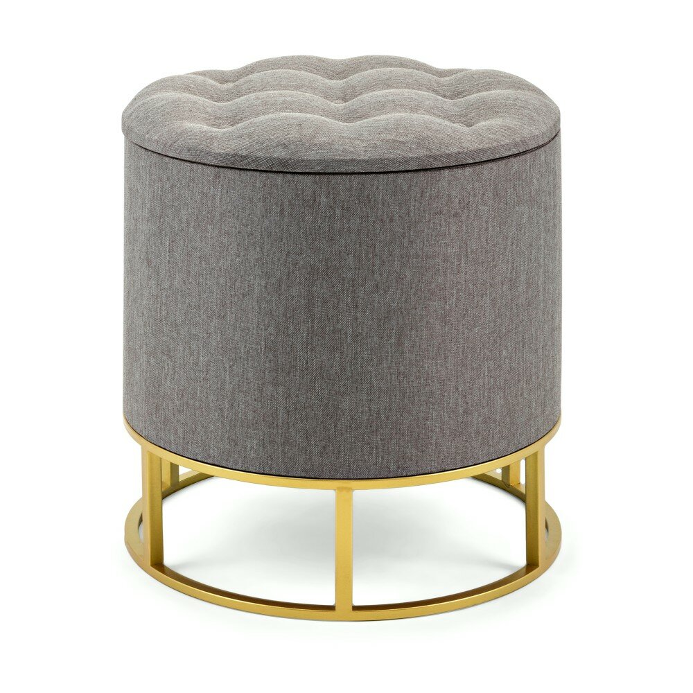 best sneakers 6fcca 5ac9b Ellie Round Metal Base Tufted Storage Ottoman