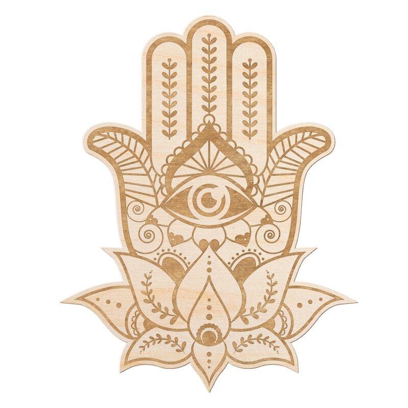 Bungalow Rose Hamsa Hand Engraved Wood