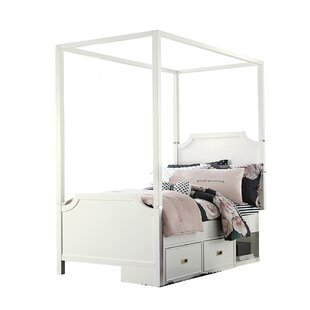 Jereme Canopy Panel Bed with Storage Drawer Unit Soft White  sc 1 st  Wayfair & Twin Canopy Bed For Girls | Wayfair