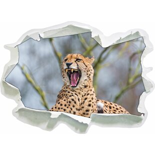 Yawning Cheetah Wall Sticker By East Urban Home