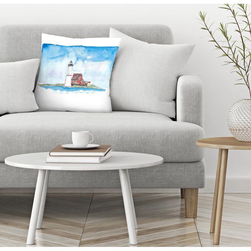 East Urban Home M Bleichner Rock Island Lighthouse Marine Feelings Throw Pillow Wayfair