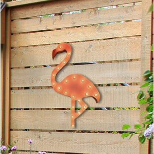 Pink Flamingo Steel Marquee Light Wall Decor
