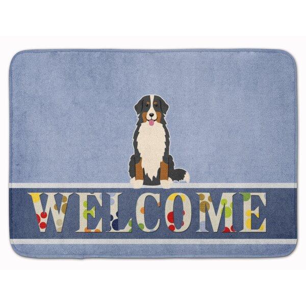 East Urban Home Bernese Mountain Dog Welcome Rectangle Microfiber Non Slip Bath Rug Wayfair