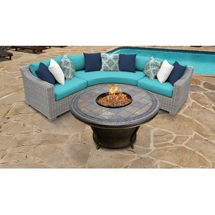 Coast Outdoor 4 Piece Sectional Seating Group With Cushions by TK Classics Today Sale Only