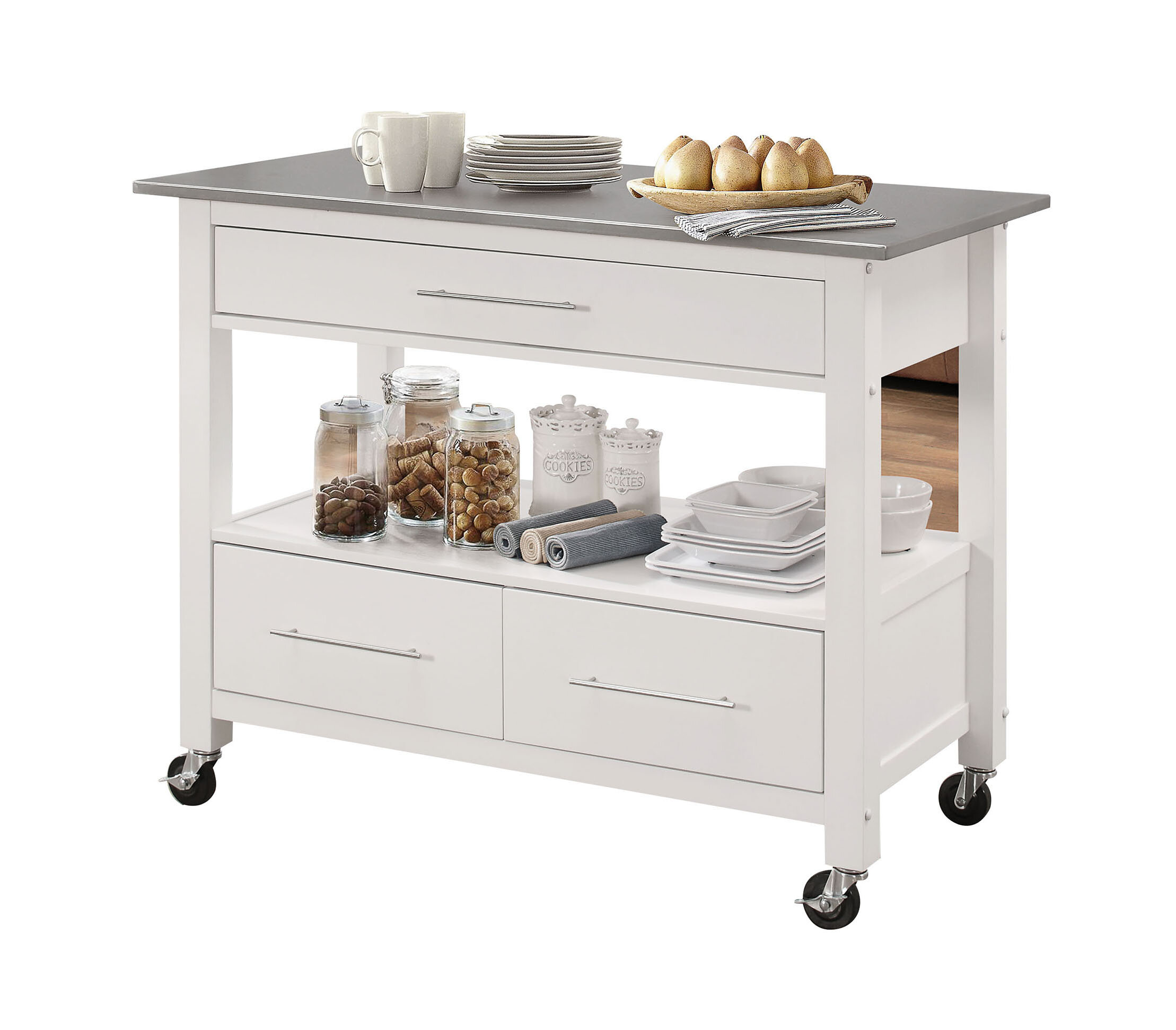 Monongah Rectangular Kitchen Cart With Stainless Steel Top Reviews Allmodern