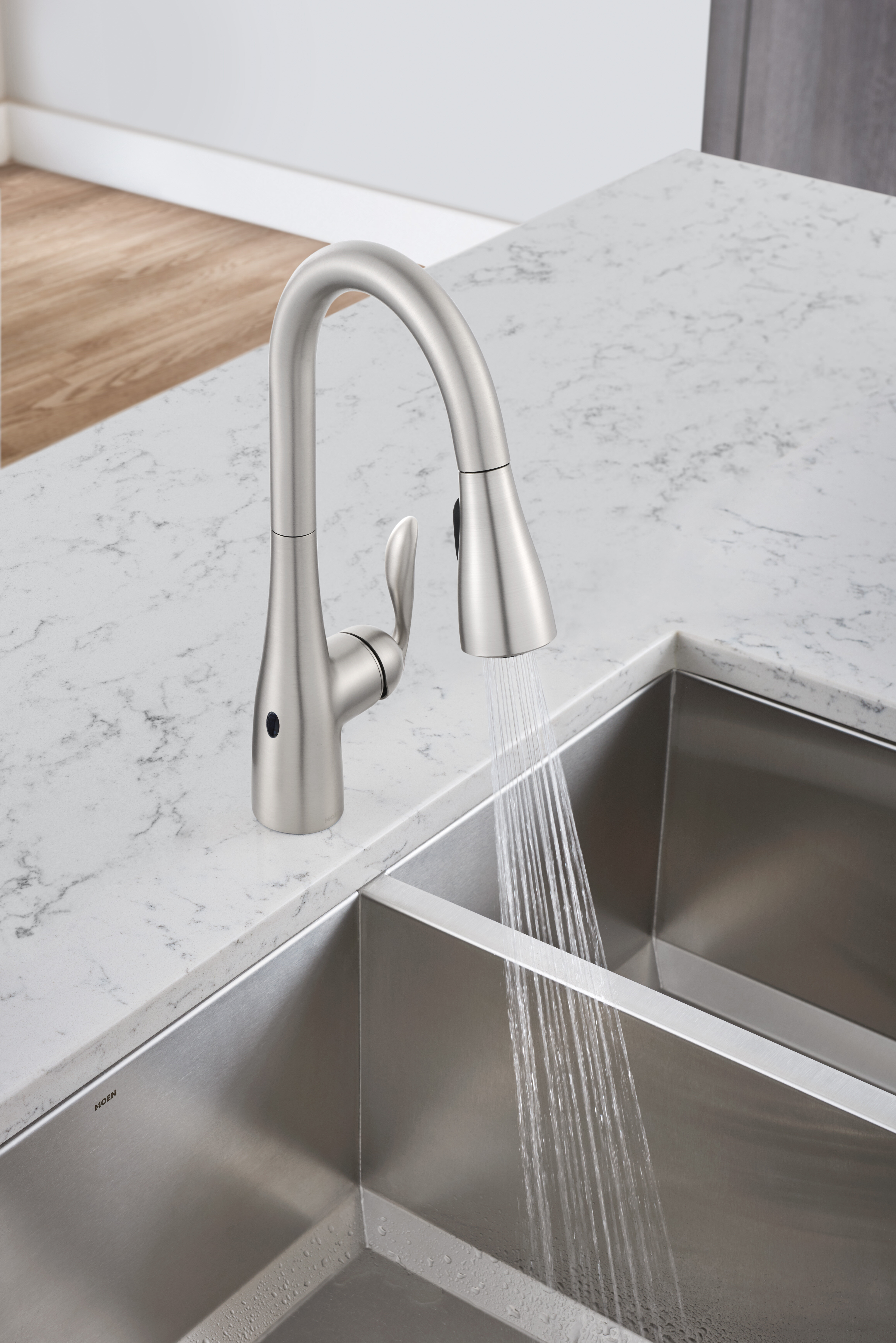 moen arbor pull down touchless single handle kitchen faucet with motionsense and power clean technologies reviews wayfair