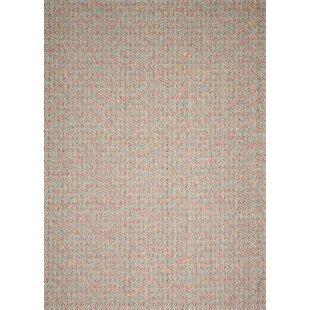 Power Loom Wool White/Red Rug by Longweave