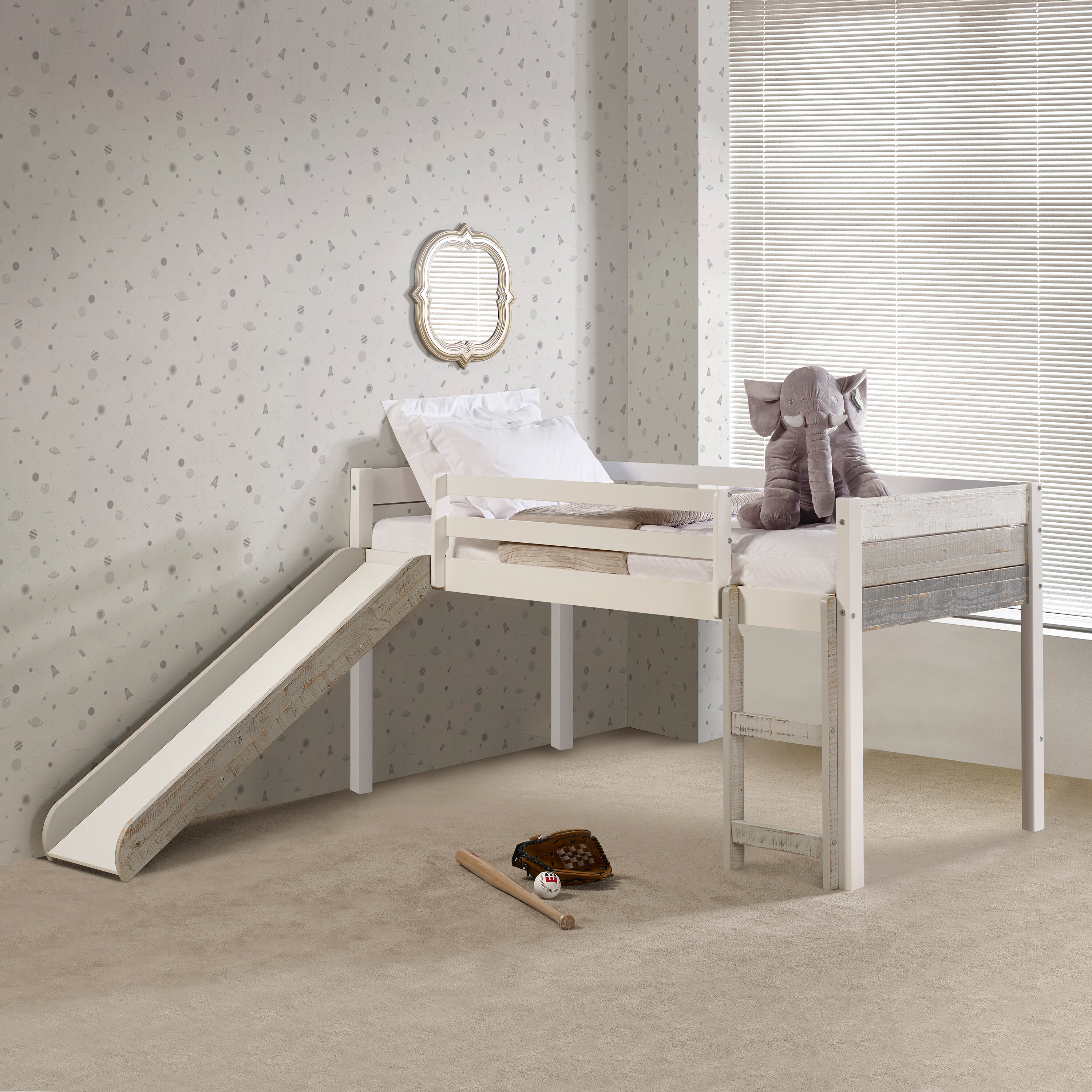 Isabelle Max Fuller Two Tone Twin Low Loft Bed Wayfair