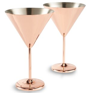 Martini 15 oz. Stainless Steel Cocktail Glass (Set of 2)