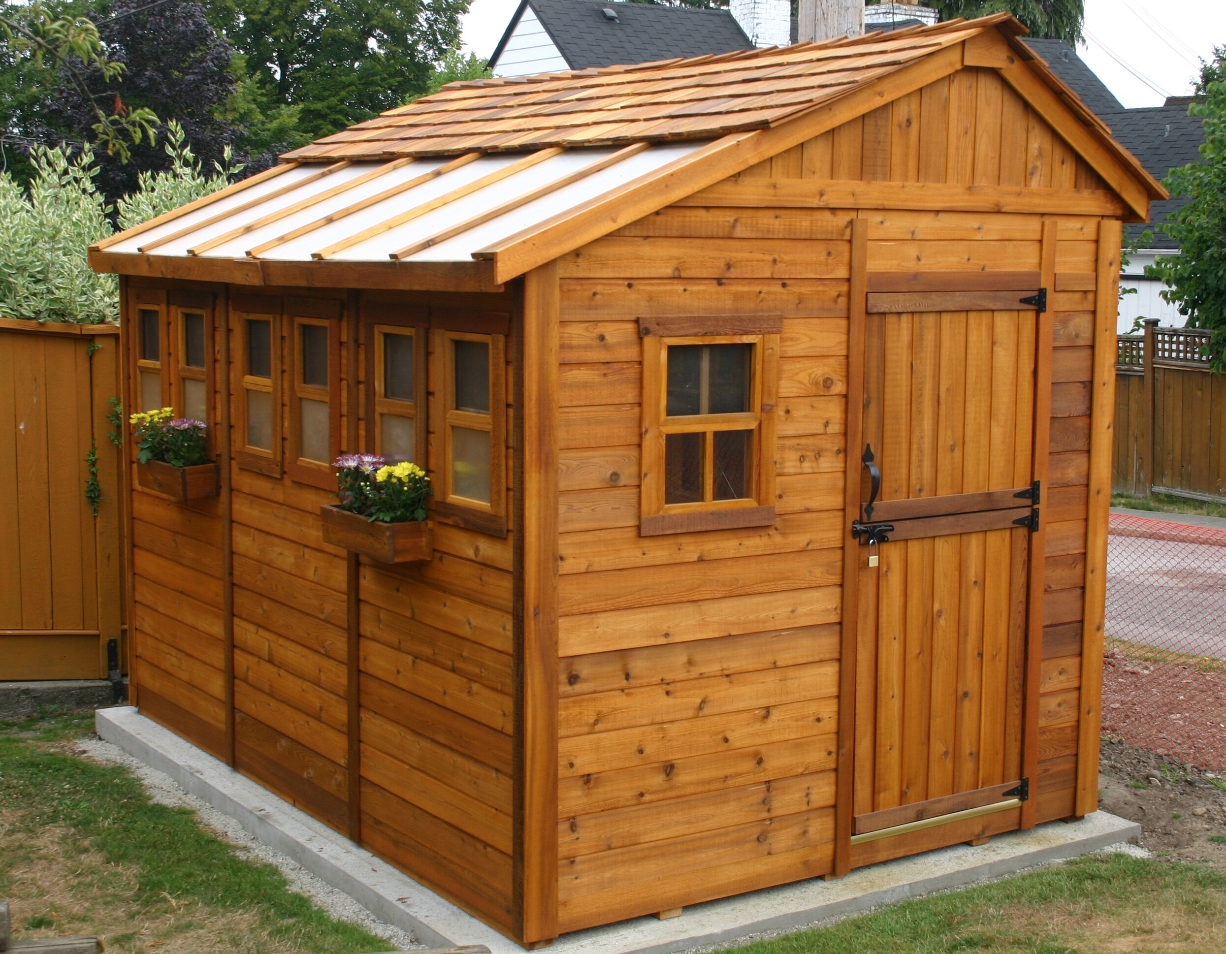 Sunshed 9 ft. W x 9 ft. D Solid Wood Storage Shed