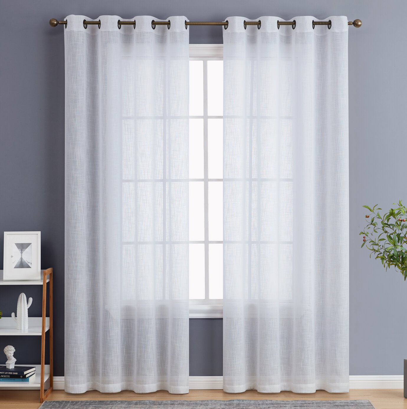 Topfinel Printed Irregular Stripes Voile Curtains Sheer Window Treatment Eyelet Panels Drapes Curtains For Living Room Bedroom 54 Width x 63 Drop Teal Set of Two Pieces