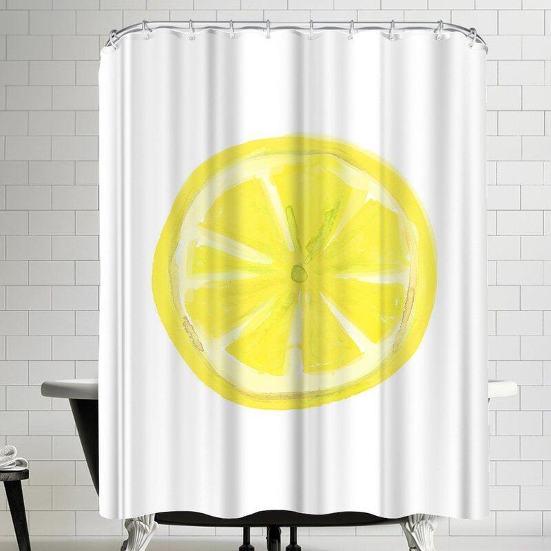 Jetty Printables Watercolor Lemon Slice Shower Curtain