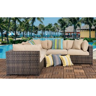 Harrison Outdoor 5 Piece Wicker Sectional Seating Group with Cushions