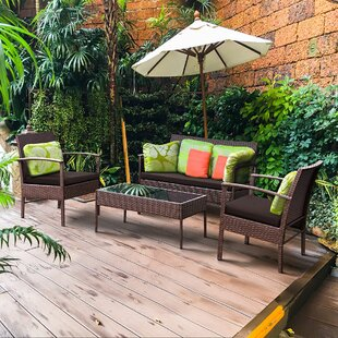 Manford 4 Piece Rattan Sofa Seating Group with Cushion
