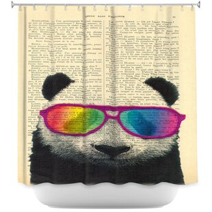 Reviews Panda Bear Rainbow Sunglasses Shower Curtain ByEast Urban Home