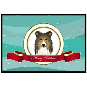 Sheltie Merry Christmas Doormat