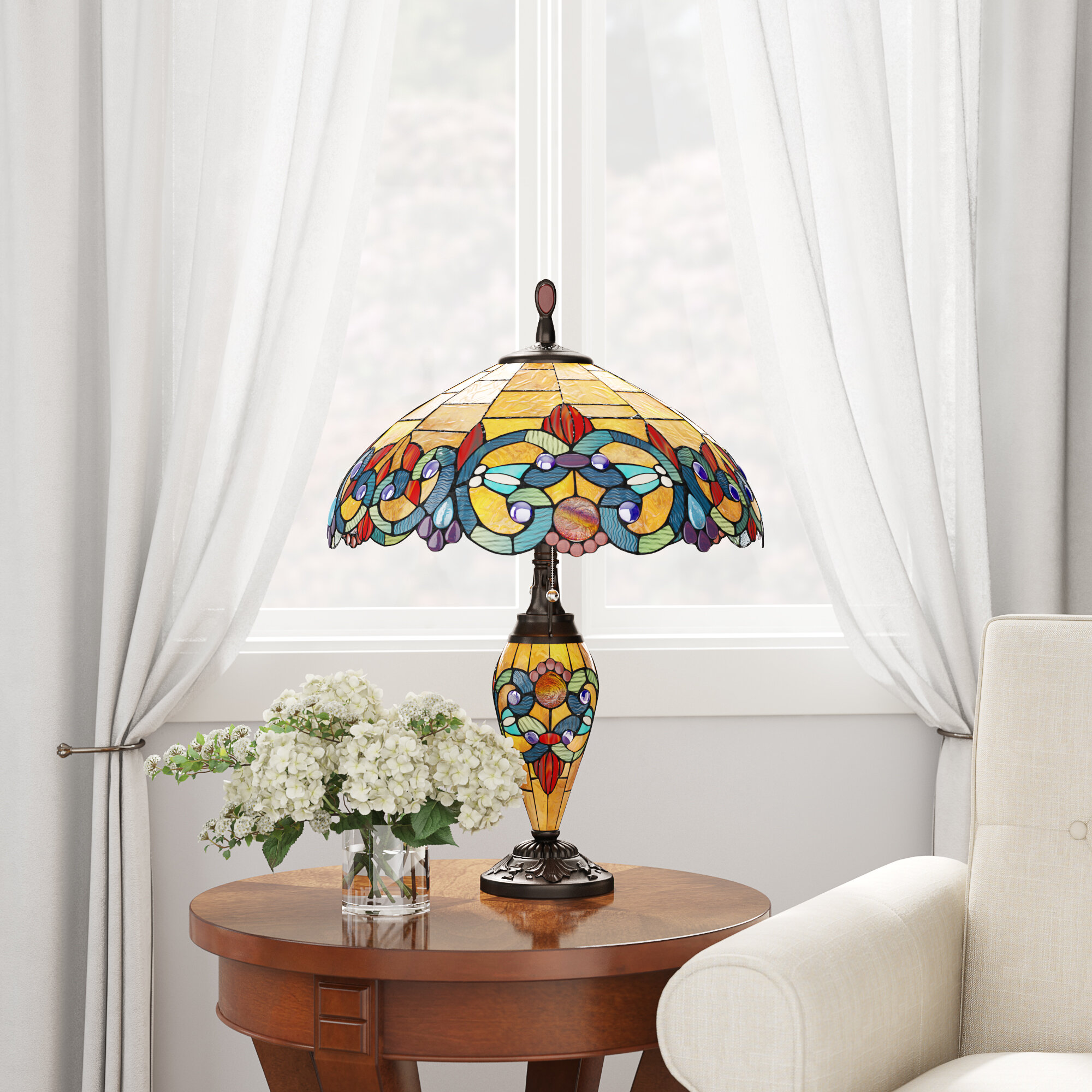 6bab44962c22 Renfrow Tiffany Style Stained Glass Double Lit 26 Table Lamp