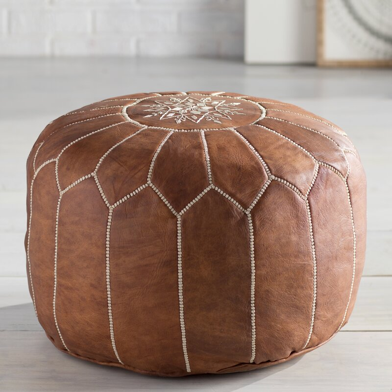 mistana cherise round pouf leather ottoman reviews. Black Bedroom Furniture Sets. Home Design Ideas
