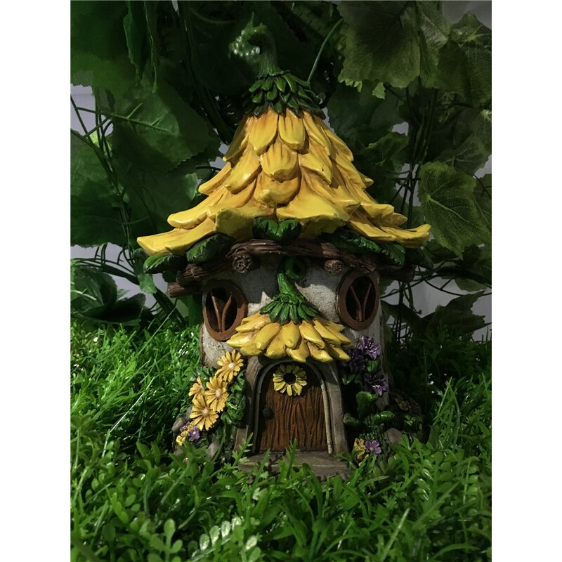 Fairy Garden House With Sunflower Roof   Solar LED Lights Statue