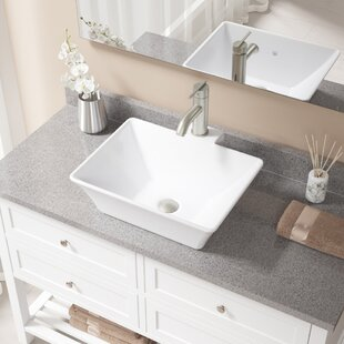 Check Prices Vitreous China Rectangular Vessel Bathroom Sink with Faucet By MR Direct